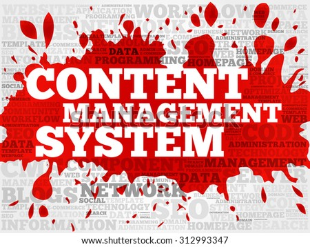 CMS - Content Management System word cloud, business concept - stock vector