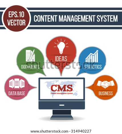 CMS design over white background. Infographic illustration for Content Management System with integrated icons. EPS.10 vector.  - stock vector