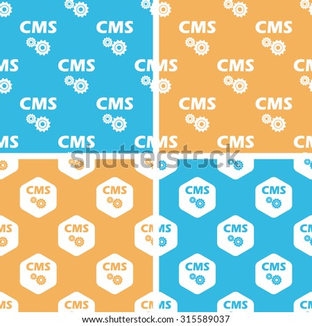 CMS settings pattern set, simple and hexagon, on yellow or blue background - stock vector