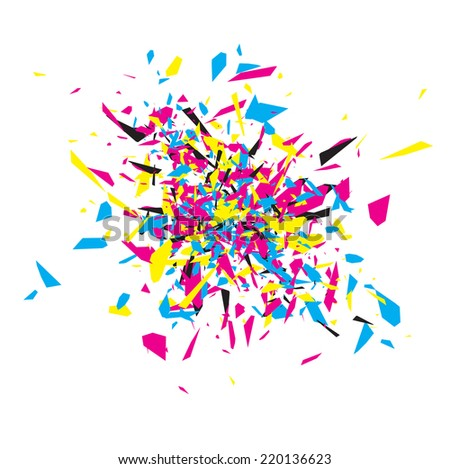 CMYK Abstract Explosion Design Over White  - stock vector