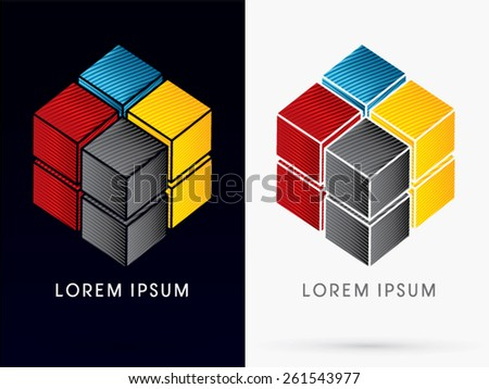 CMYK Color , Abstract Square, Cube Box sign , logo, symbol, icon, graphic, vector . - stock vector