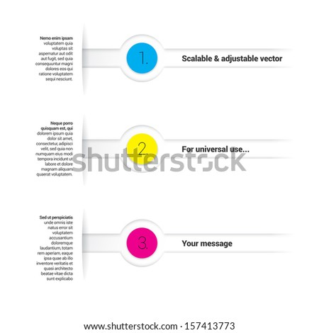 Cmyk color concept eps10 vector composition of an abstract minimal geometric paper background based list elements with content and menu field for numbering or lettering, circles for universal use - stock vector