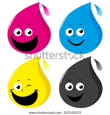 CMYK color drop characters. A set of 4 cartoon ink drops in cyan, magenta, yellow and black colors. - stock vector