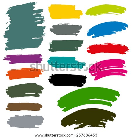 CMYK colors marker paint brush stains - stock vector