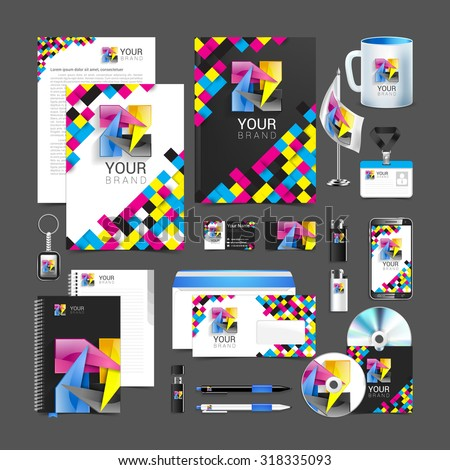cmyk Corporate Identity stationery template design abstract symbol. - stock vector