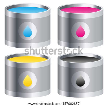 CMYK - Cyan, Magenta, Yellow, Black Color buckets vector illustration (icons) - Prepress, press, printing concepts - stock vector