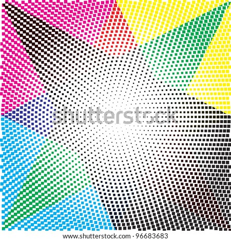 cmyk, halftone dot pattern, vector background - stock vector