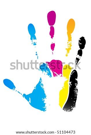CMYK hand-print - stock vector