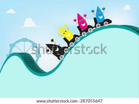 CMYK Ink cartoons style riding a cartridge roller coaster. Editable Clip art. - stock vector