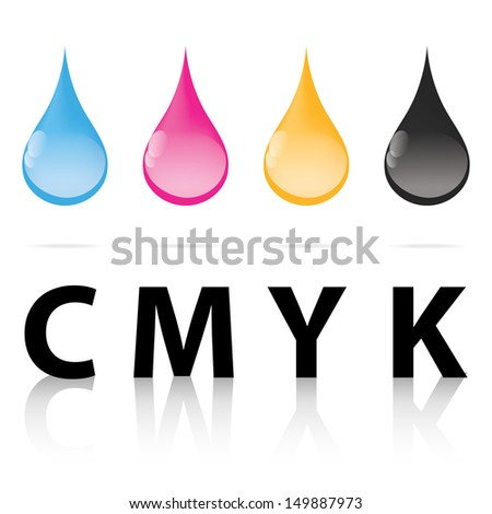 cmyk ink drop color paint print - stock vector