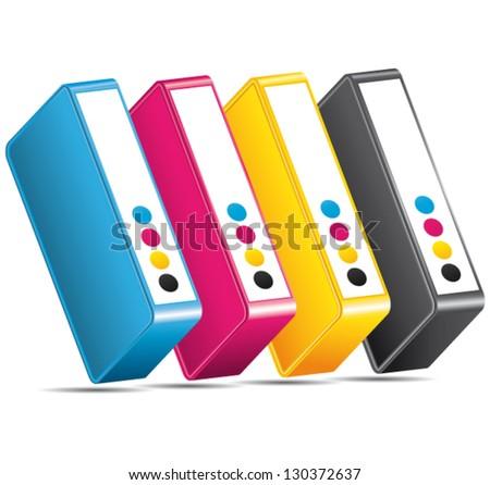 CMYK ink toners. Cartridges vector. - stock vector