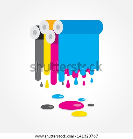 cmyk print colored roll - stock vector