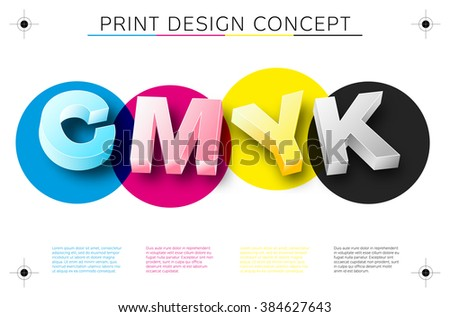 CMYK print concept with 3D letters and place for your text - vector file - stock vector