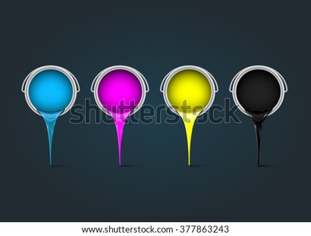 CMYK realistic cans, vector - stock vector