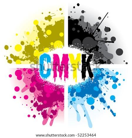 CMYK Splash Design - stock vector