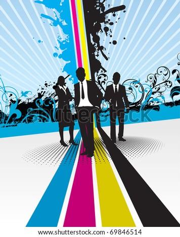 cmyk splash with business people - stock vector