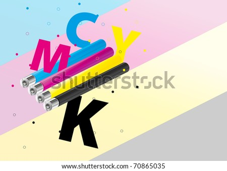CMYK toned cylinders background (eps10) - stock vector