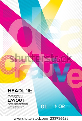 cmyk Vector Abstract design layout background for flyer leaflet brochure book cover - stock vector