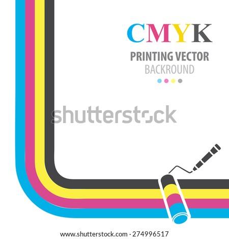 CMYK vector background. Print colors paint roller. - stock vector