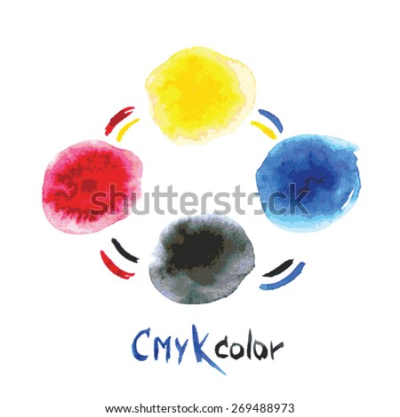 CMYK watercolor,hand painting, vector illustration - stock vector