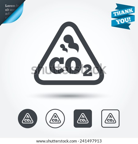 CO2 carbon dioxide formula sign icon. Chemistry symbol. Circle and square buttons. Flat design set. Thank you ribbon. Vector - stock vector