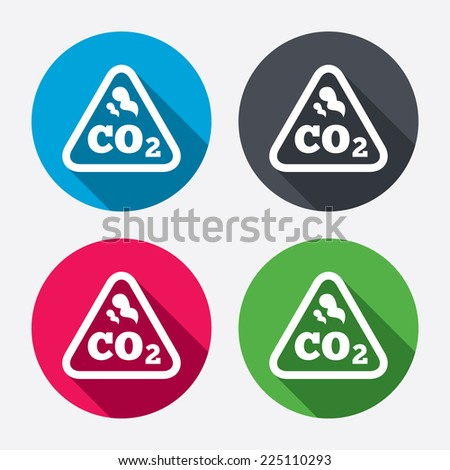 CO2 carbon dioxide formula sign icon. Chemistry symbol. Circle buttons with long shadow. 4 icons set. Vector - stock vector