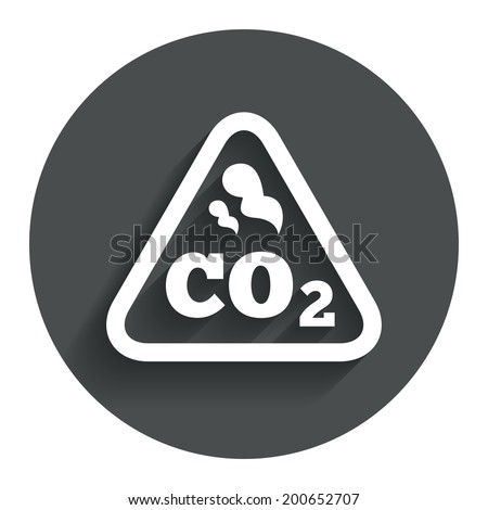CO2 carbon dioxide formula sign icon. Chemistry symbol. Circle flat button with shadow. Modern UI website navigation. Vector - stock vector