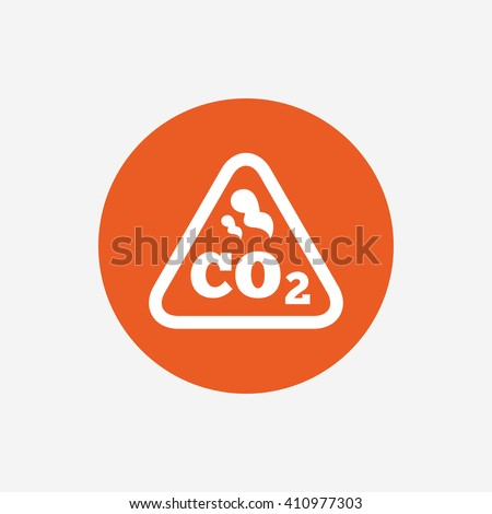 CO2 carbon dioxide formula sign icon. Chemistry symbol. Orange circle button with icon. Vector - stock vector