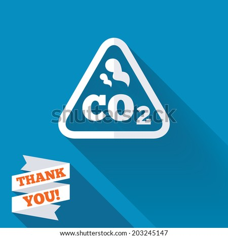 CO2 carbon dioxide formula sign icon. Chemistry symbol. White flat icon with long shadow. Paper ribbon label with Thank you text. Vector - stock vector