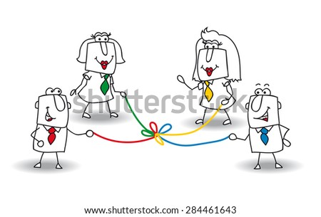 co-development. A group of businessmen and businesswomen hold a colored rope. It is a metaphor of co-development in a team - stock vector