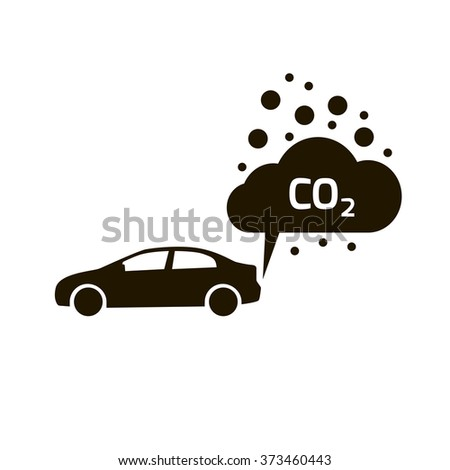 co2 emissions icon cloud vector flat, carbon dioxide emits symbol - stock vector