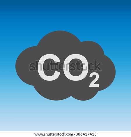 CO2 icon on a blue sky, carbon dioxide formula symbol , vector illustration, sign - stock vector
