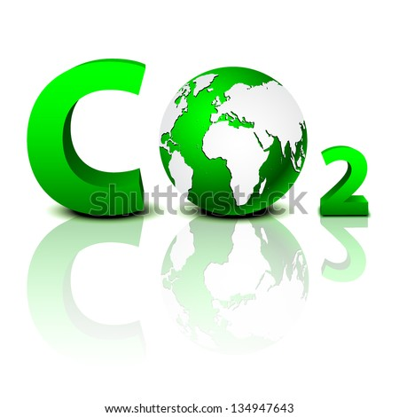 CO2 pollution in 3D - stock vector