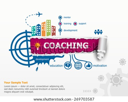 Coaching concept and breakthrough paper hole with ragged edges with a space for your message.  - stock vector