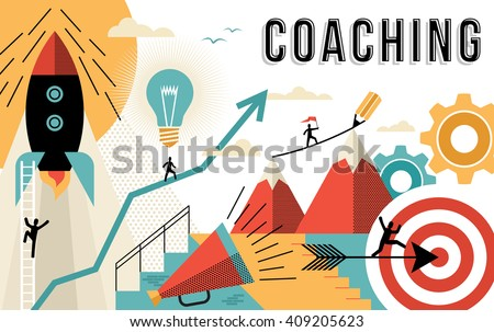 Coaching concept illustration, achieve your business goals at work. Flat art outline style elements related to job success. EPS10 vector. - stock vector