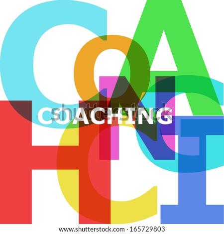Coaching - vector abstract color text - stock vector