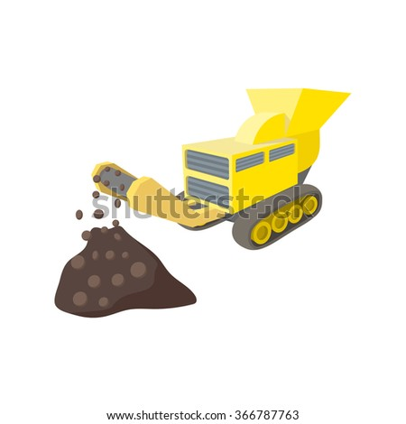 Coal conveyor crusher cartoon icon isolated on a white background - stock vector