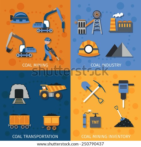 Coal industry design concept set with mining transportation inventory flat icons isolated vector illustration - stock vector