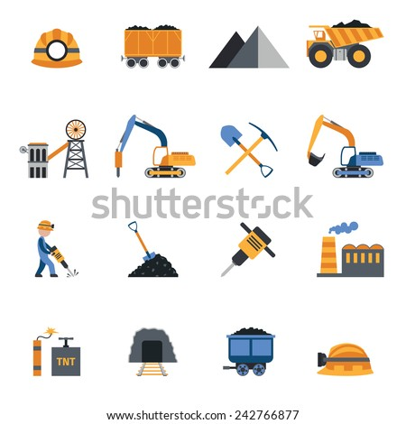 Coal industry metallurgy mine equipment and machinery icons set isolated vector illustration - stock vector