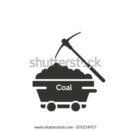 coal mine wagon icon - stock vector