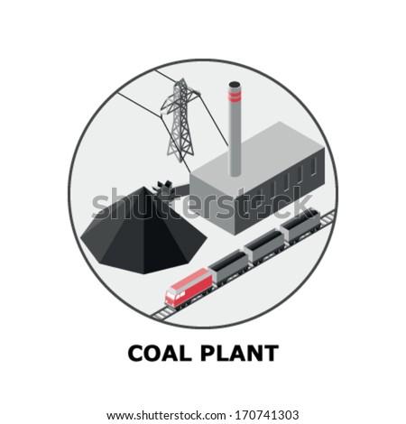 Coal Plant, Non-Renewable Energy Sources - Part 1 - stock vector