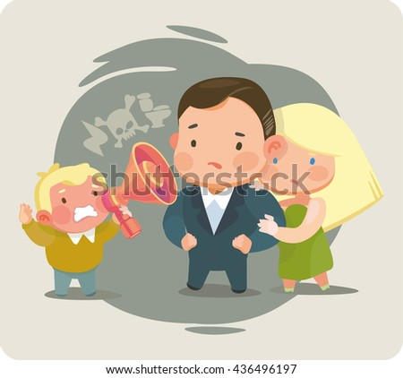 Coarse child. Children's aggression. Everyday scenes of family life. Obstinate juvenile rejects to communicate with his parents. The defiant Child. - stock vector