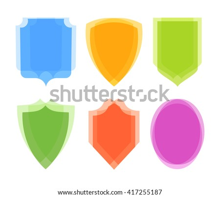 Coat of Arms Collection isolated on white, Vector Illustrations of Shields. - stock vector
