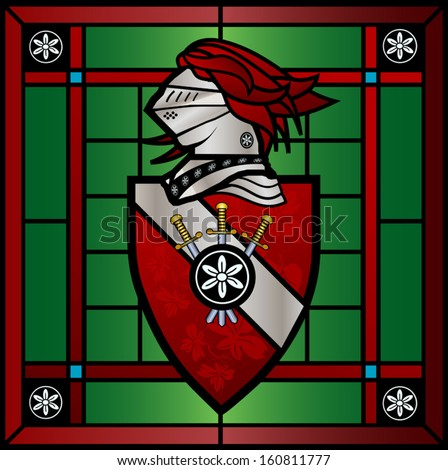 Coat of arms in stained glass with shield and knight - stock vector