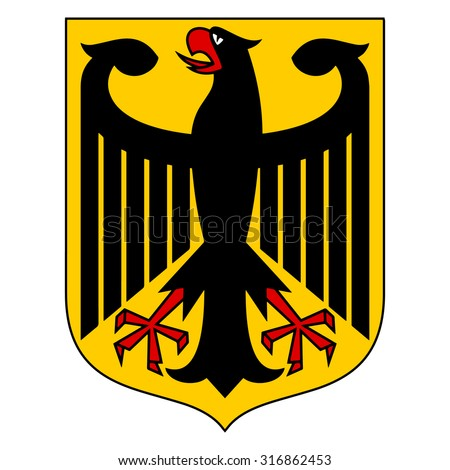 Coat of arms of Germany symbol. Vector of the Bundesadler or Federal Eagle, formerly the Reichsadler or Imperial Eagle. - stock vector