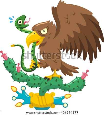 coat of arms of mexico cartoon illustration - stock vector