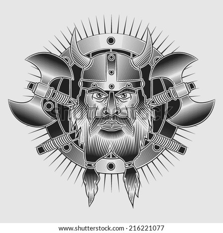 Coat of arms of the head of a Viking in a horned helmet with crossed axes and shield. In the style of tattoos or engraving. - stock vector