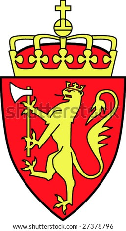 Coat of arms of the kingdom Norway - stock vector