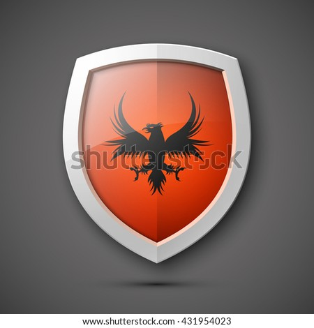 Coat of arms Protection shield concept. Safety badge icon. Privacy banner. Security label. Defense tag. Presentation sticker shape. Defense sign. Vector illustration - stock vector