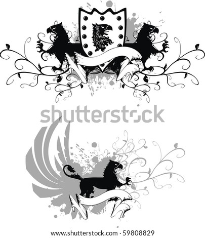 coat of arms with gryphon in vector format very easy to edit - stock vector